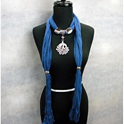 Denim Blue Fashion Jewelry Scarf with Peacock Pendant