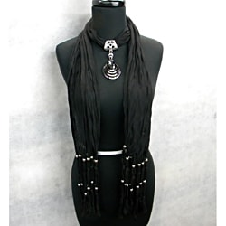 Black Fashion Jewelry Scarf with Smokey Topaz Pendant