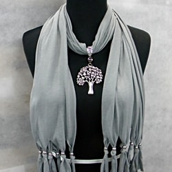 Grey Fashion Jewelry Scarf with Silver Toned Tree Pendant