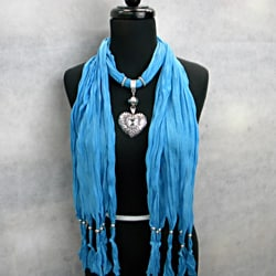 Fashion Jewelry Scarf Turquoise Blue with Silver and Crystal Heart Pendant