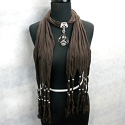 Fashion Jewelry Scarf Dark Brown with Smoky Topaz Pendant