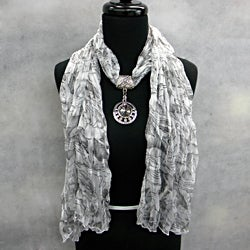 Fashion Jewelry Scarf White Print with Smoky Topaz