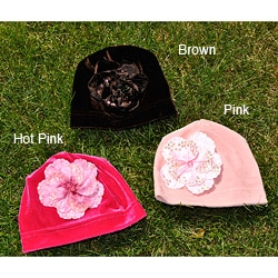 Bellarisa Designs Velvet Stretch Beanie Hat With Flower