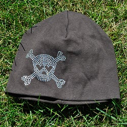 Bellarisa Designs Brown Cotton Rhinestone Skull and Cross Bone Beanie