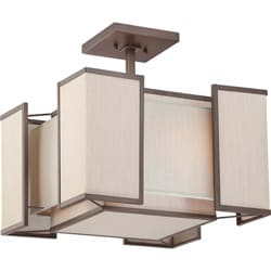 Labyrinth 3 Light Henna Bronze with Khaki Fabric Shades Semi Flush Fixture