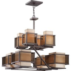 Matrix 8 Light Khaki Fabric Shade/ Smoke Plated Glass Chandelier