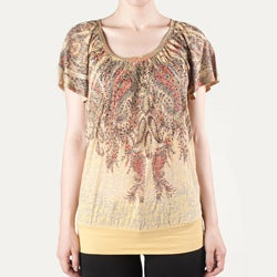 Tabeez Women's Gold Filigree Rhinestone Top