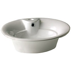 Oval White Vessel with Overflow and Single Hole Faucet