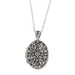Glitzy Rocks Sterling Silver Marcasite Locket Necklace