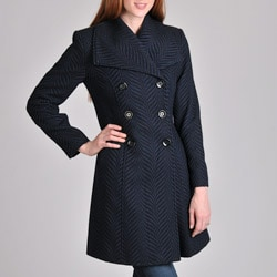 Larry Levine Women&#39;s Slate/ Black Swirl Walking Coat