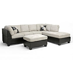Mancini Dark-Brown/Beige Modern Sectional Sofa and Ottoman Set