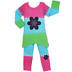 AnnLoren Girls' 2-piece Dip-dye Flower Tunic/ Leggings