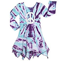 AnnLoren Girls' Blue/ Purple Tie-dye Hanky Hem Batik Dress