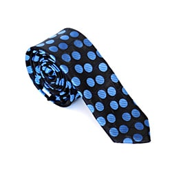 Skinny Tie Madness Men's Black/ Blue Polka-dot Skinny Tie