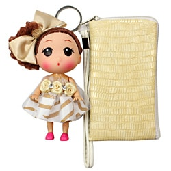Unico 'Isabelle' Beige Leather Wristlet with Doll Keychain