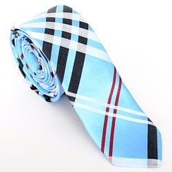 Skinny Tie Madness Men's Blue/ Red Plaid Skinny Tie