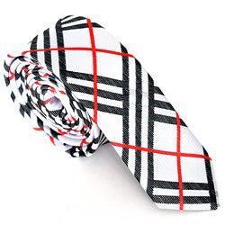 Skinny Tie Madness Men's White Plaid Skinny Tie