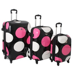 International Traveller Shiny Large Dots 3-piece Hardside Spinner Luggage Set