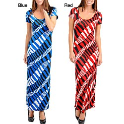 Cap-Sleeve Stanzino Women's Short Sleeve Geometric Print Long Dress