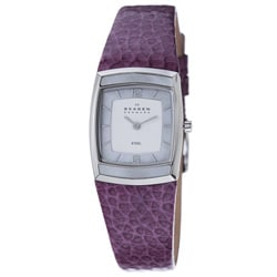 Skagen Women's Plum Leather Strap Watch