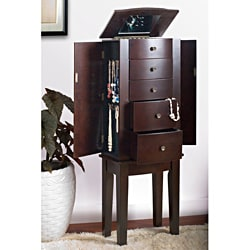 Contemporary Style Espresso Jewelry Armoire Chest Cabinet