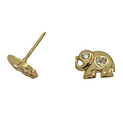 Gold over Silver Children's Cubic Zirconia Elephant Earrings