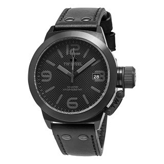 TW Steel Men's 'Canteen' Black Dial Black Leather Strap Watch