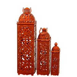 Metal Orange Lanterns Set of Three