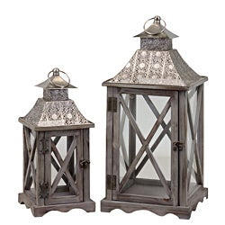 Wooden Metal Lantern Set of Two