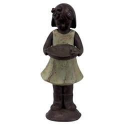 Urban Trend Resin Little Girl with Platter Copper Sculpture