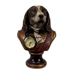 Urban Trend Resin Dog Head with Clock Small Sculpture