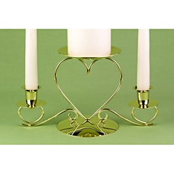 Gold Triple Heart Candle Holder