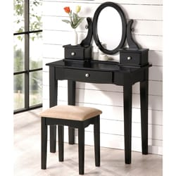 Black Contemporary Bedroom Vanity Set with Stool