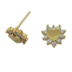 Gold over Silver Children's Clear Cubic Zirconia Heart Earrings