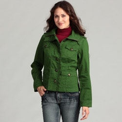 Live a Little Women&#39;s Ruffle Trim Military Jacket