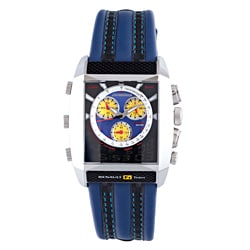 Chronotech Men&#39;s Blue Textured Dial Blue and Black Leather Watch