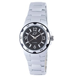 Chronotech Men's Black and Silver Aluminum Watch