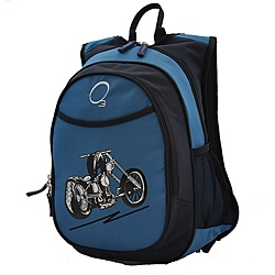 O3 Kids Pre-School All-In-One Blue Motorcycle Backpack With Cooler