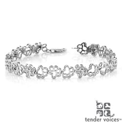ASPCA Tender Voices Silver 1/10ct TDW Diamond Paw Bracelet (I-J, I2-I3)