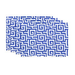 Oskar Terrace Sea Blue Geometric Placemats (Set of 4)