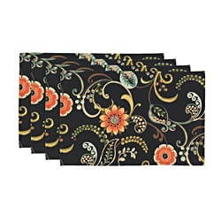 Lundsford Onyx Black Floral Placemats (Set of 4)
