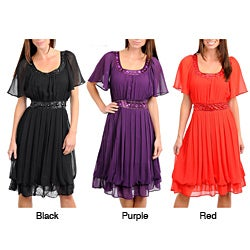 Stanzino Women's Short Sleeve Chiffon Pleated Dress with Stone Embellished Neckline and Waist