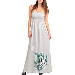 Stanzino Women's Gray Strapless Maxi Dress with Flower Print