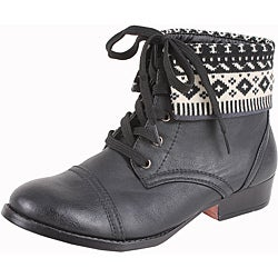 Elegant by Beston Women&#39;s &#39;Sharp-8&#39; Black Fairisle Cuff Boots