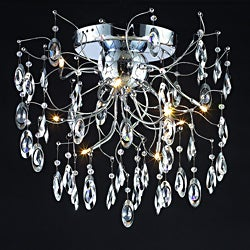 Modern Design 9-light 26-inch Polished Chrome Crystal Flush Mount Ceiling Fixture