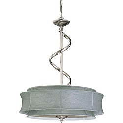 Darwin Nickel and Grey Fabric 3-Light Pendant