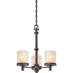 Decker Bronze with Clear/ Cream 3-light Chandelier