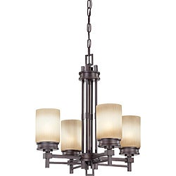 Wright Bronze with Amaretto Glass 4-light Chandelier
