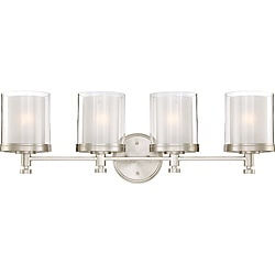 Decker Nickel Finished and Frosted 4-Light Vanity Fixture