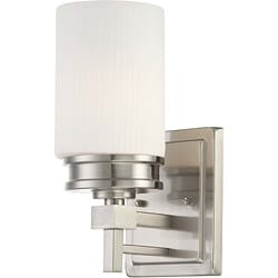 Wright Nickel and Satin White Glass 1-Light Vanity Fixture